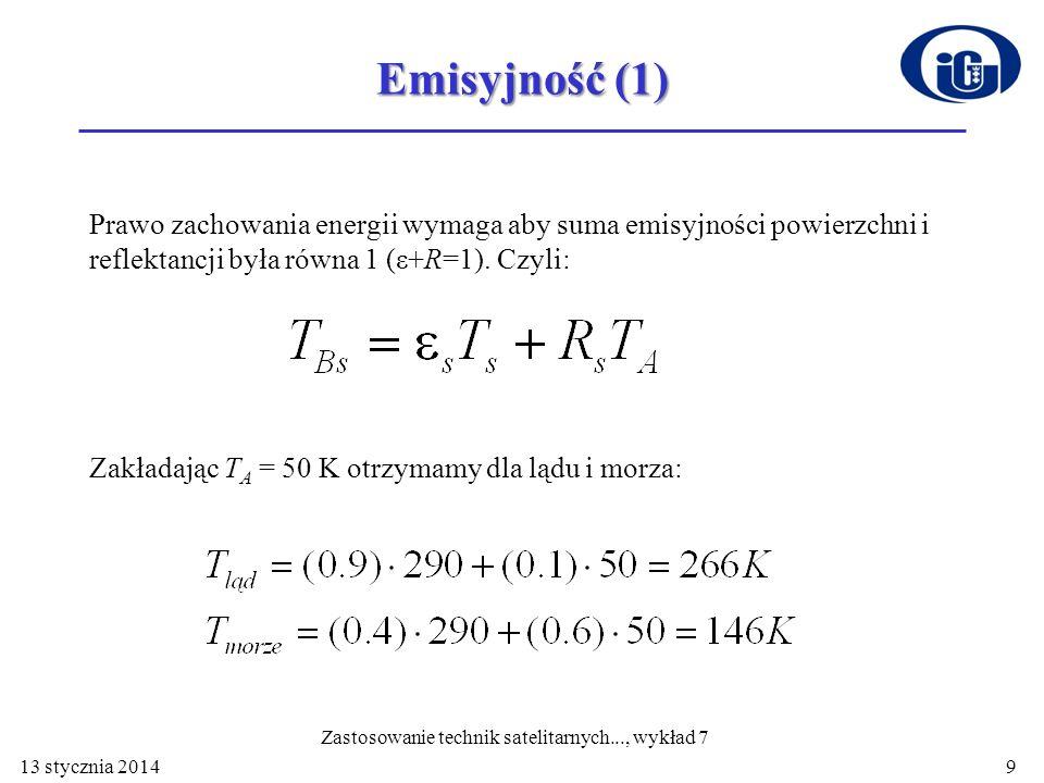 Emisyjność (1) Prawo zachowania energii wymaga aby suma emisyjności powierzchni i reflektancji była równa 1 (ε+R=1). Czyli: Zakładając T A = 50 K otrz