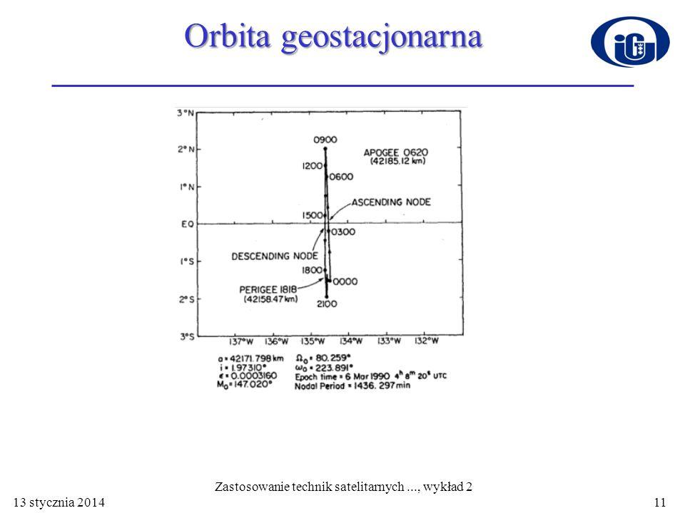 Orbita geostacjonarna 13 stycznia 2014 Zastosowanie technik satelitarnych..., wykład 2 11