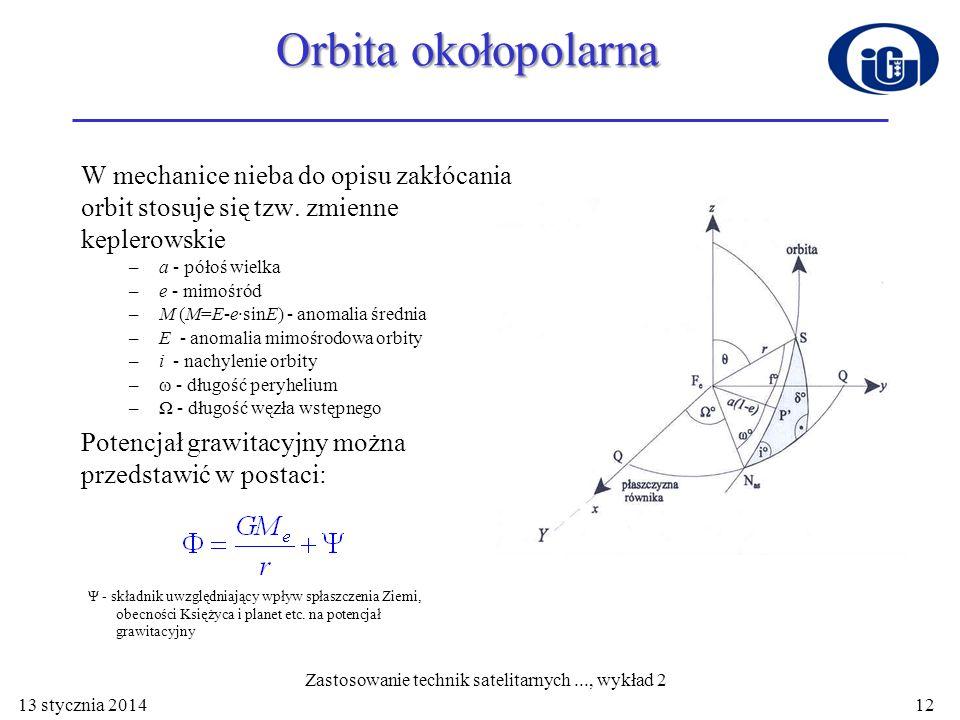 Orbita okołopolarna W mechanice nieba do opisu zakłócania orbit stosuje się tzw. zmienne keplerowskie –a - półoś wielka –e - mimośród –M (M=E-e·sinE)