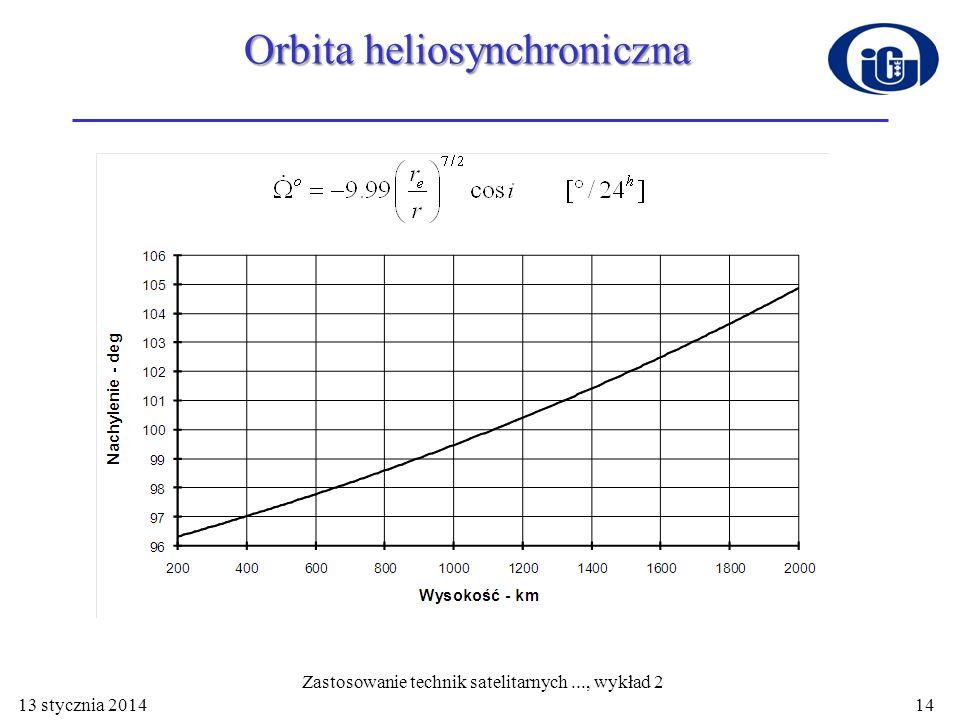 Orbita heliosynchroniczna 13 stycznia 2014 Zastosowanie technik satelitarnych..., wykład 2 14