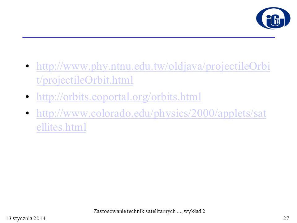 13 stycznia 2014 http://www.phy.ntnu.edu.tw/oldjava/projectileOrbi t/projectileOrbit.htmlhttp://www.phy.ntnu.edu.tw/oldjava/projectileOrbi t/projectil