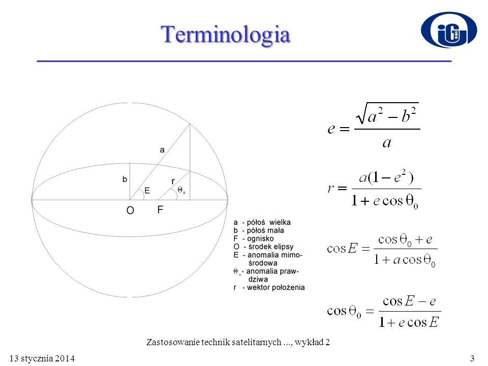 13 stycznia 2014 Terminologia 3 Zastosowanie technik satelitarnych..., wykład 2