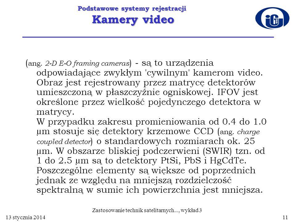 Podstawowe systemy rejestracji Kamery video ( ang. 2-D E-O framing cameras ) - są to urządzenia odpowiadające zwykłym 'cywilnym' kamerom video. Obraz