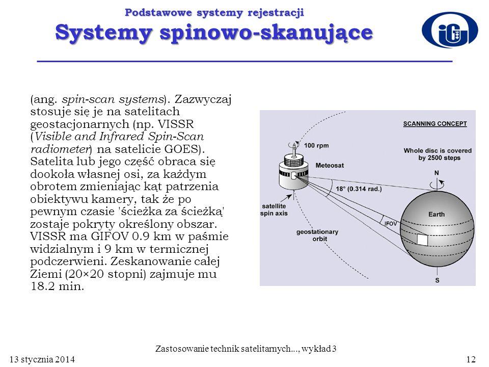 Podstawowe systemy rejestracji Systemy spinowo-skanujące (ang. spin-scan systems ). Zazwyczaj stosuje się je na satelitach geostacjonarnych (np. VISSR