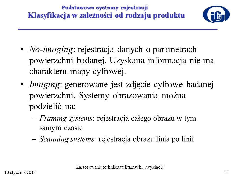 Podstawowe systemy rejestracji Klasyfikacja w zależności od rodzaju produktu No-imaging: rejestracja danych o parametrach powierzchni badanej. Uzyskan