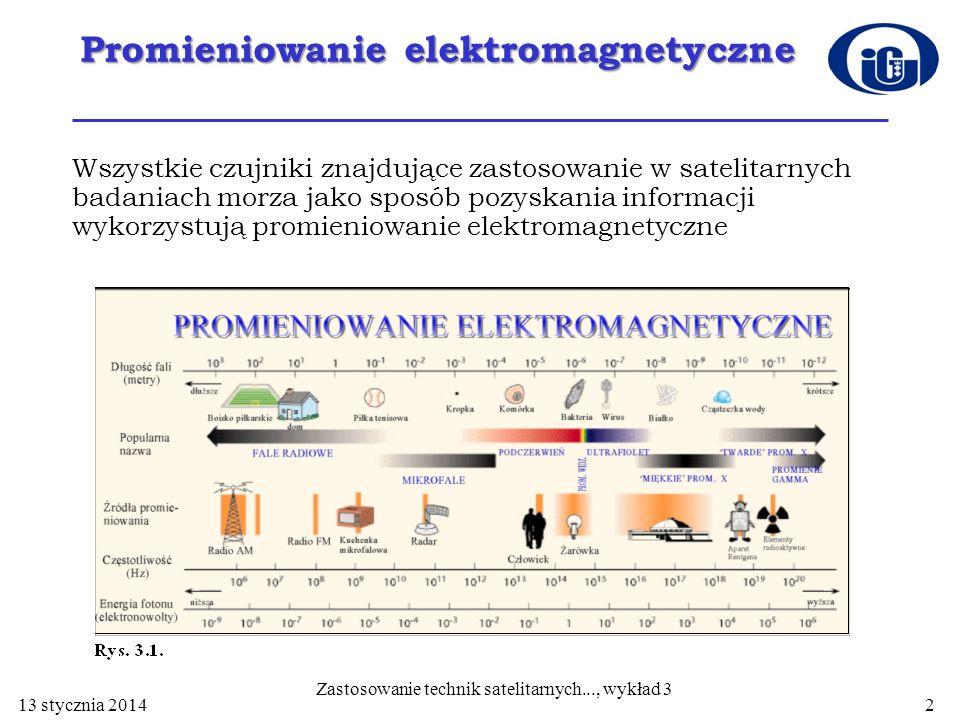 Promieniowanie elektromagnetyczne Wszystkie czujniki znajdujące zastosowanie w satelitarnych badaniach morza jako sposób pozyskania informacji wykorzy