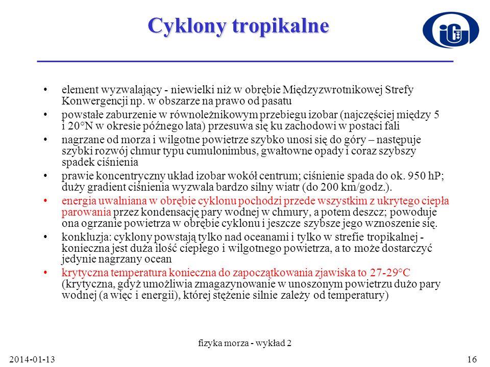 2014-01-13 fizyka morza - wykład 2 16 Cyklony tropikalne element wyzwalający - niewielki niż w obrębie Międzyzwrotnikowej Strefy Konwergencji np. w ob