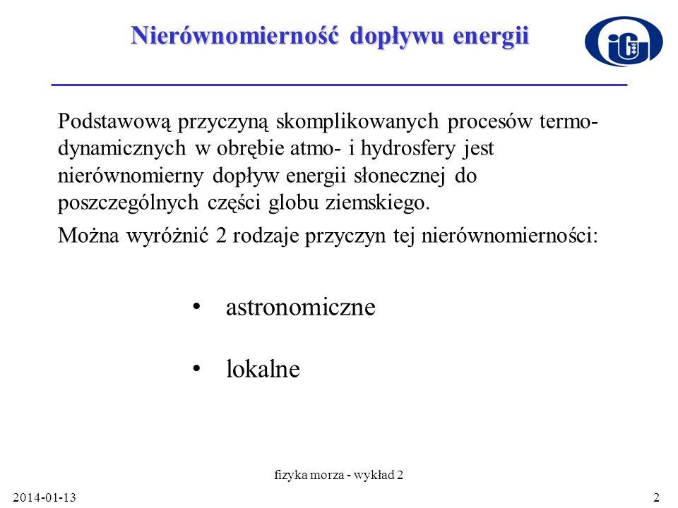 2014-01-13 fizyka morza - wykład 2 2 Nierównomierność dopływu energii Podstawową przyczyną skomplikowanych procesów termo- dynamicznych w obrębie atmo
