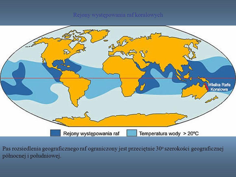 Rejony występowania raf koralowych Pas rozsiedlenia geograficznego raf ograniczony jest przeciętnie 30 o szerokości geograficznej północnej i południo