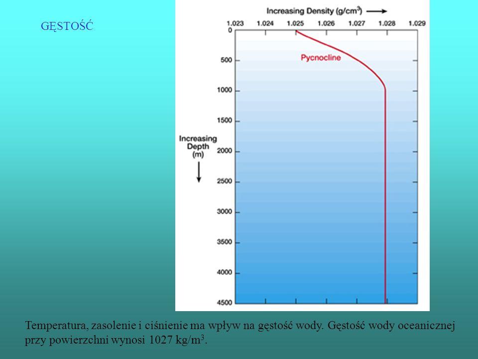 GĘSTOŚĆ Temperatura, zasolenie i ciśnienie ma wpływ na gęstość wody. Gęstość wody oceanicznej przy powierzchni wynosi 1027 kg/m 3.