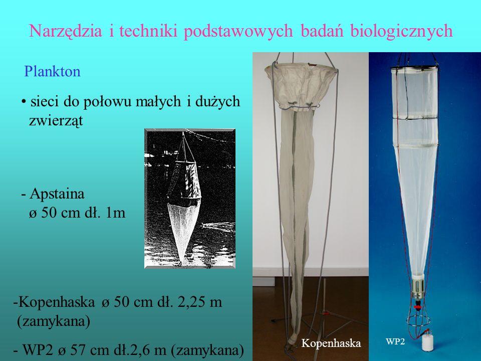 Narzędzia i techniki podstawowych badań biologicznych Plankton sieci do połowu małych i dużych zwierząt - Apstaina ø 50 cm dł. 1m -Kopenhaska ø 50 cm