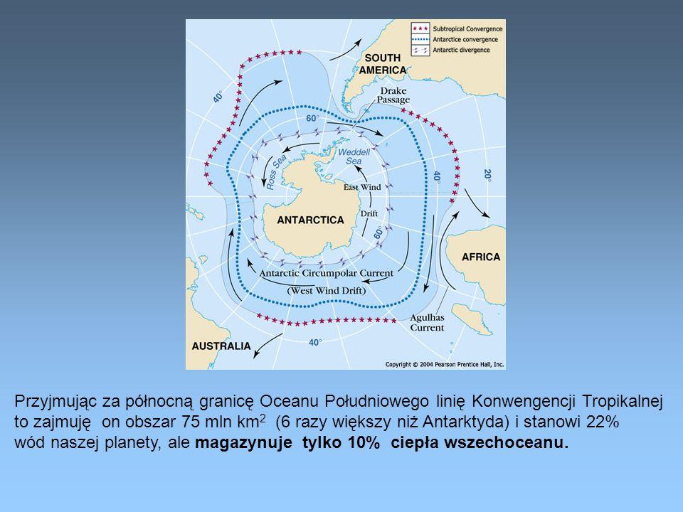 Przyjmując za północną granicę Oceanu Południowego linię Konwengencji Tropikalnej to zajmuję on obszar 75 mln km 2 (6 razy większy niż Antarktyda) i s