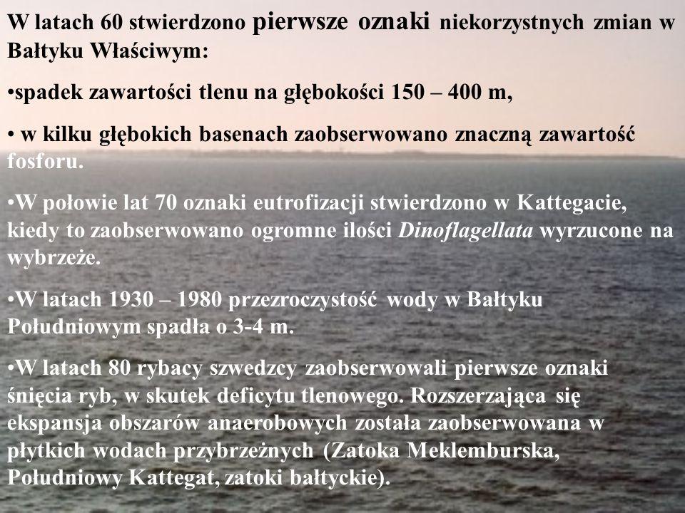W latach 60 stwierdzono pierwsze oznaki niekorzystnych zmian w Bałtyku Właściwym: spadek zawartości tlenu na głębokości 150 – 400 m, w kilku głębokich