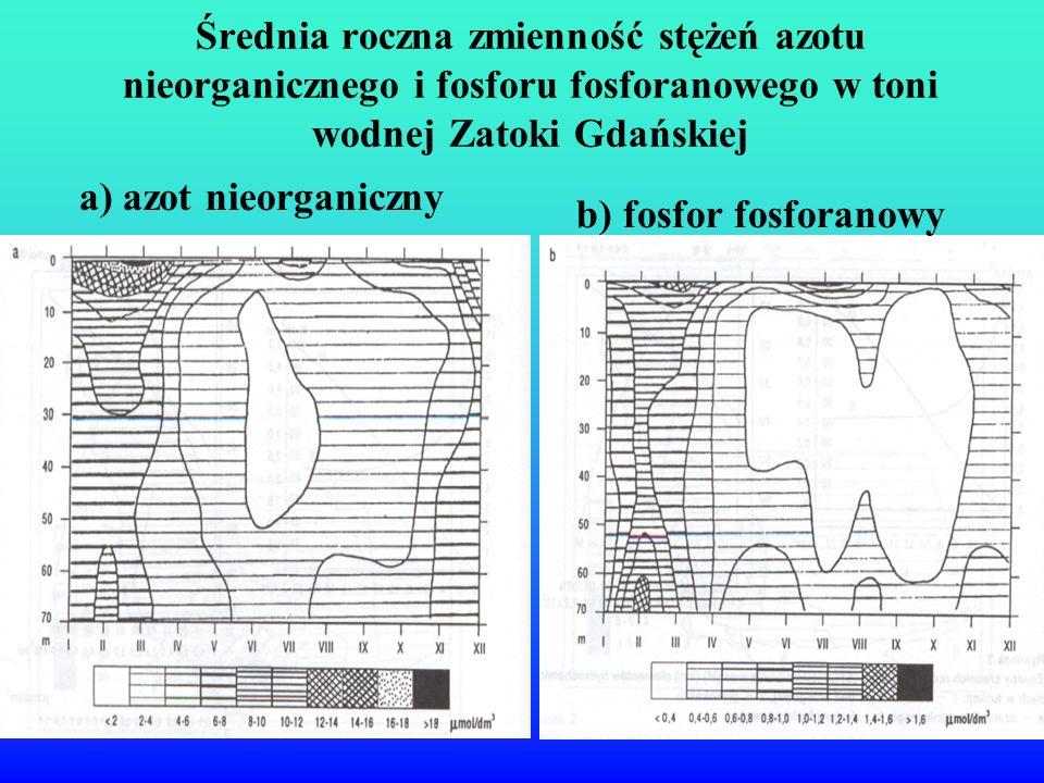 Średnia roczna zmienność stężeń azotu nieorganicznego i fosforu fosforanowego w toni wodnej Zatoki Gdańskiej a) azot nieorganiczny b) fosfor fosforano