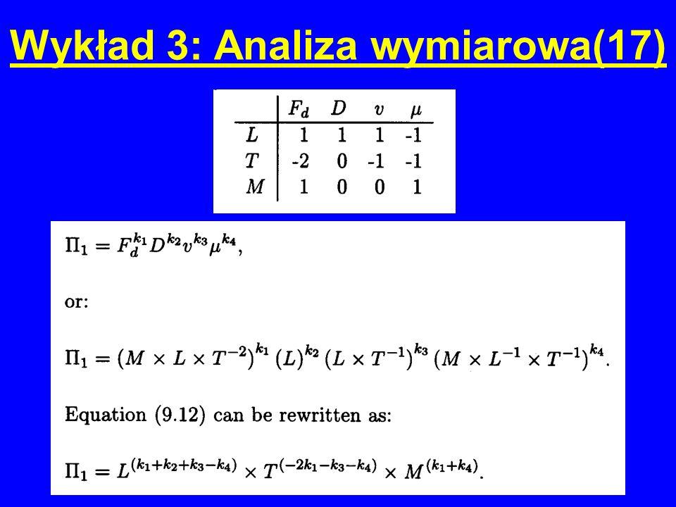 Wykład 3: Analiza wymiarowa(17)