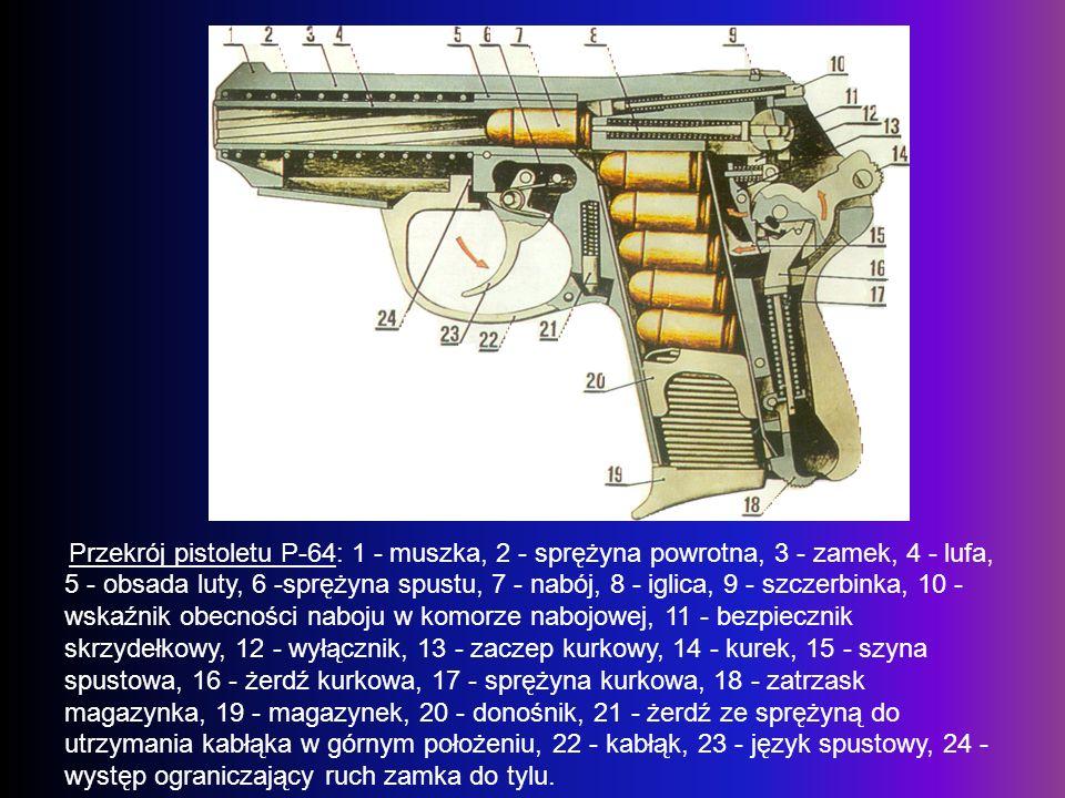 Przekrój pistoletu P-64: 1 - muszka, 2 - sprężyna powrotna, 3 - zamek, 4 - lufa, 5 - obsada luty, 6 -sprężyna spustu, 7 - nabój, 8 - iglica, 9 - szcze