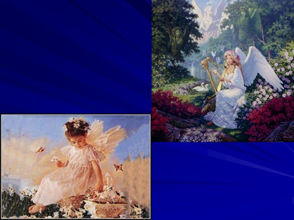 Aniołowie sąposłańcamiBoga, oznajmiają Jego zamiary ipomagająludziom wypełniać wolę Bożą.Aniołowie tworzą orszak Pana Boga wniebie, wielbią Go, oddają Mucześć są podzieleni na chóry, anielskie.