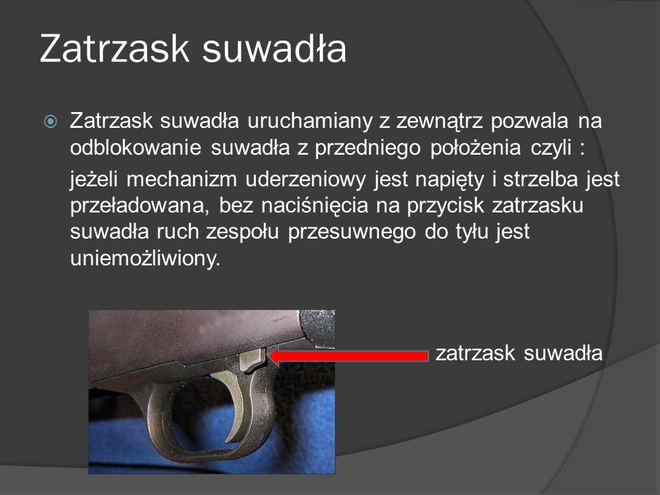 Zatrzask suwadła Zatrzask suwadła uruchamiany z zewnątrz pozwala na odblokowanie suwadła z przedniego położenia czyli : jeżeli mechanizm uderzeniowy j