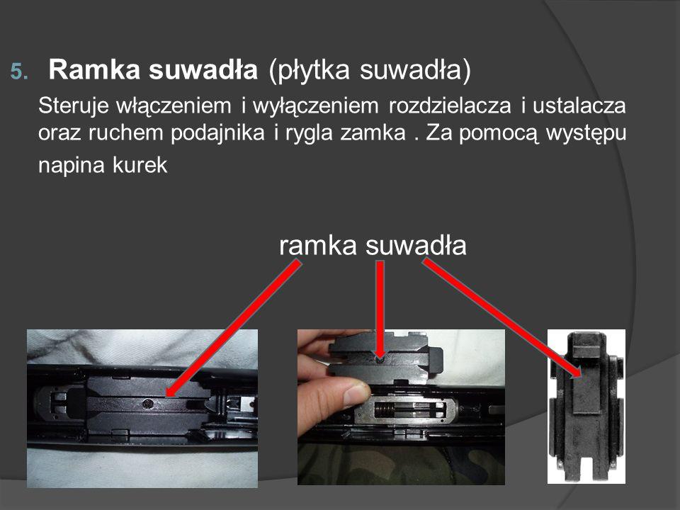 5. Ramka suwadła (płytka suwadła) Steruje włączeniem i wyłączeniem rozdzielacza i ustalacza oraz ruchem podajnika i rygla zamka. Za pomocą występu nap