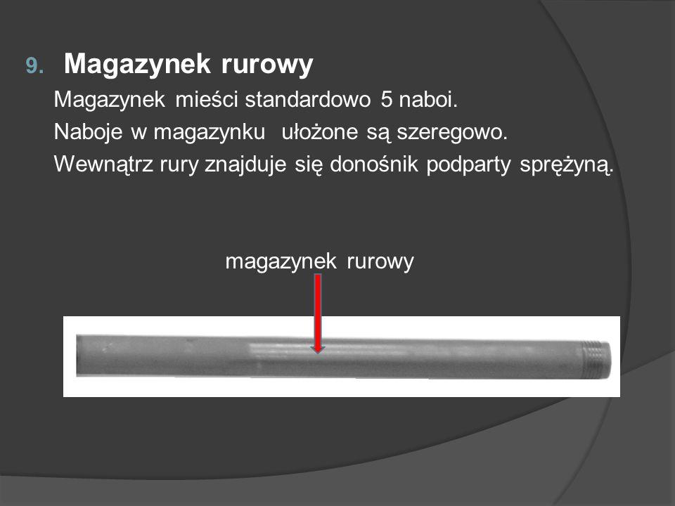 9. Magazynek rurowy Magazynek mieści standardowo 5 naboi. Naboje w magazynku ułożone są szeregowo. Wewnątrz rury znajduje się donośnik podparty spręży