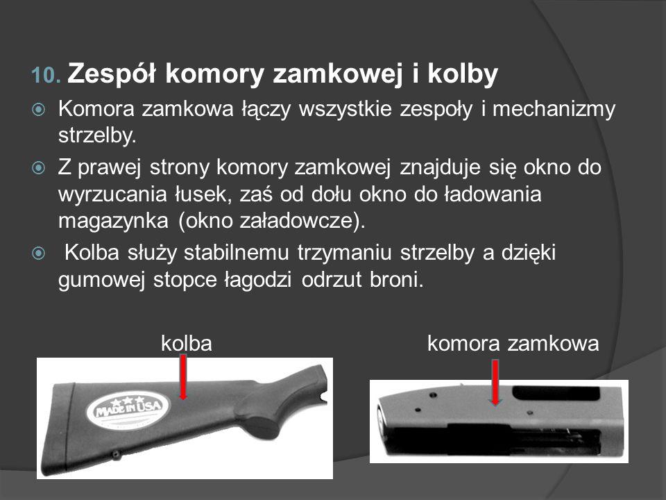 10. Zespół komory zamkowej i kolby Komora zamkowa łączy wszystkie zespoły i mechanizmy strzelby. Z prawej strony komory zamkowej znajduje się okno do