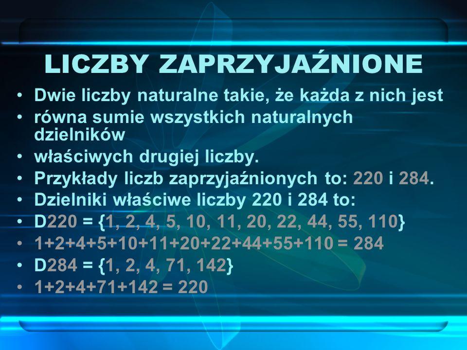 Pierwsze dwie liczby doskonałe 6 i 28 znane były starożytnym. Kolejne dwie: 496 i 8128 znalazł Euklides. Następna liczba – 33550336 – została znalezio