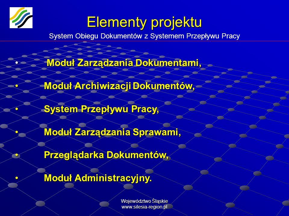 Województwo Śląskie www.silesia-region.pl Elementy projektu Elementy projektu System Obiegu Dokumentów z Systemem Przepływu Pracy Moduł Zarządzania Do