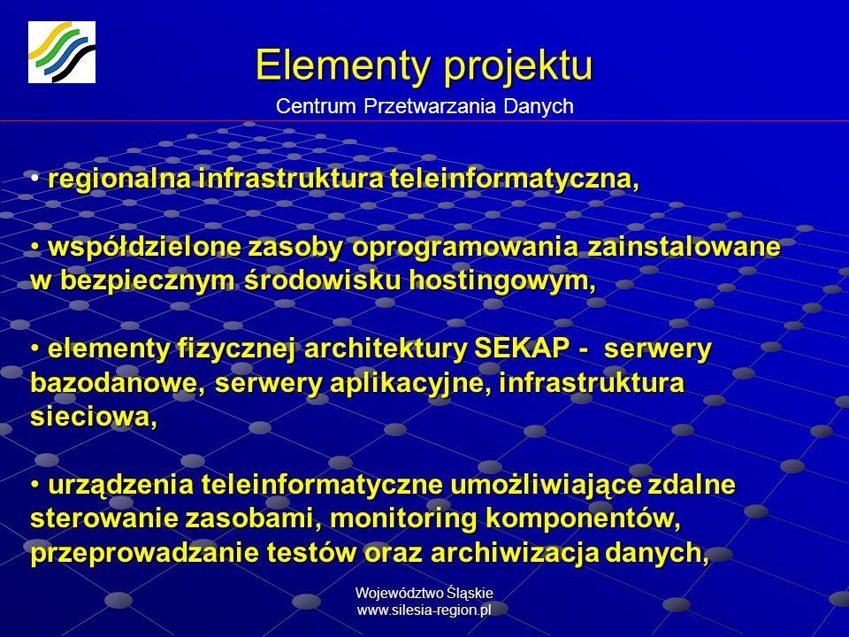Województwo Śląskie www.silesia-region.pl Elementy projektu Elementy projektu Infrastruktura indywidualna Wyszczególnienie urządzeń infrastruktury indywidualnej Ilość Koszt infrastruktury urzędów w SEKAP [szt.][PLN] Komputery / terminale13662 732 000 Urządzenia aktywne sieci teleinformatycznej w tym: 460 640 firewall24 router17 switch62 Serwery dla bazy danych elektronicznych dokumentów źródłowych591 118 000 Inne urządzenia teleinformatyczne w tym:1 250928 600 skanery162 czytniki + karty [komplet]1 088 RAZEM 5 239 240