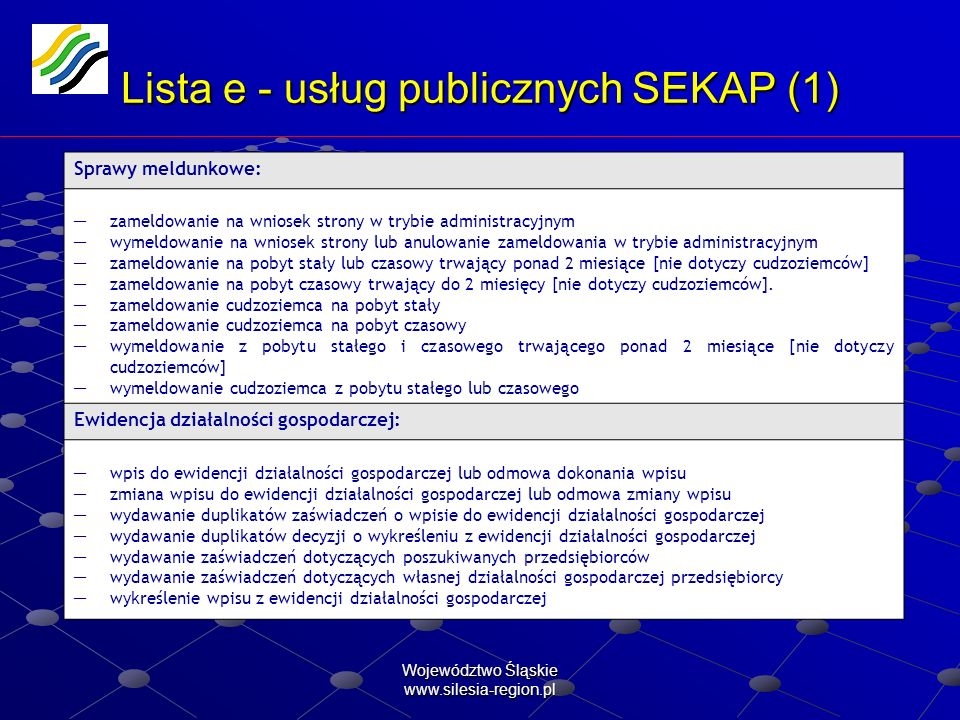 Województwo Śląskie www.silesia-region.pl Lista e - usług publicznych SEKAP (2) Limitowana działalność gospodarcza: zezwolenia na sprzedaż i podawanie napojów alkoholowych zezwolenia na sprzedaż napojów alkoholowych o zawartości alkoholu do 4,5% oraz piwa.