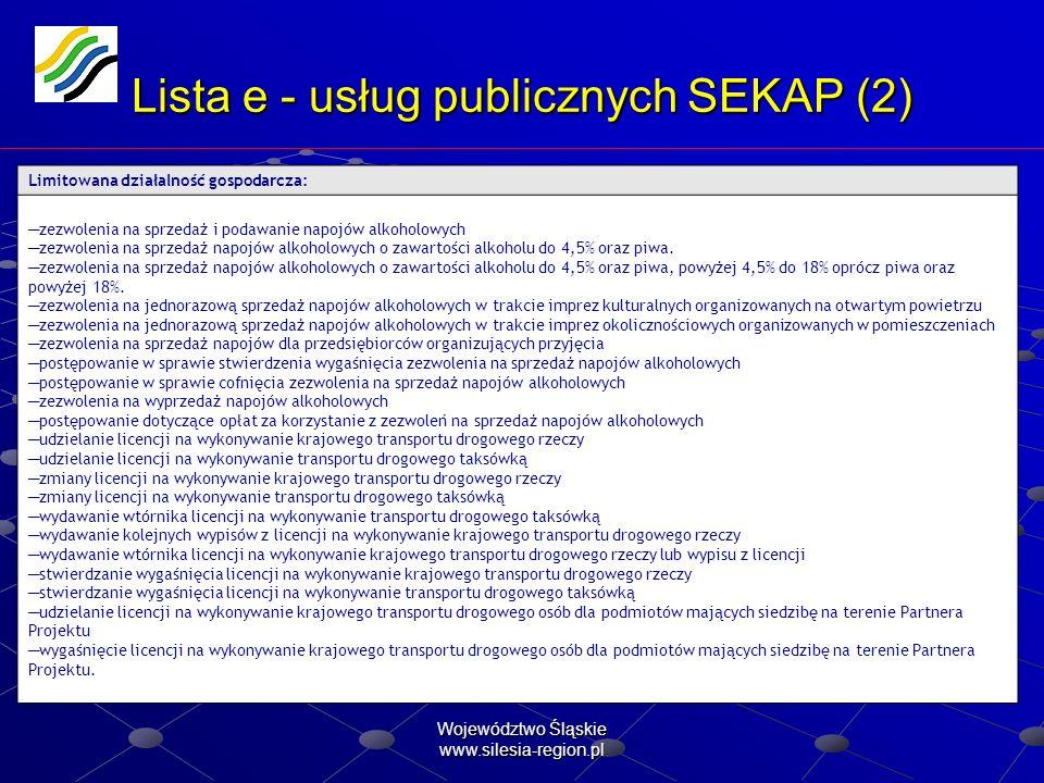 Województwo Śląskie www.silesia-region.pl Lista e - usług publicznych SEKAP (2) Limitowana działalność gospodarcza: zezwolenia na sprzedaż i podawanie