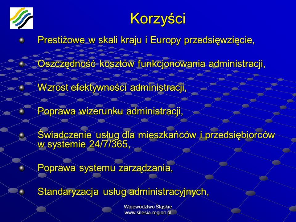 Województwo Śląskie www.silesia-region.pl Korzyści Prestiżowe w skali kraju i Europy przedsięwzięcie, Oszczędność kosztów funkcjonowania administracji