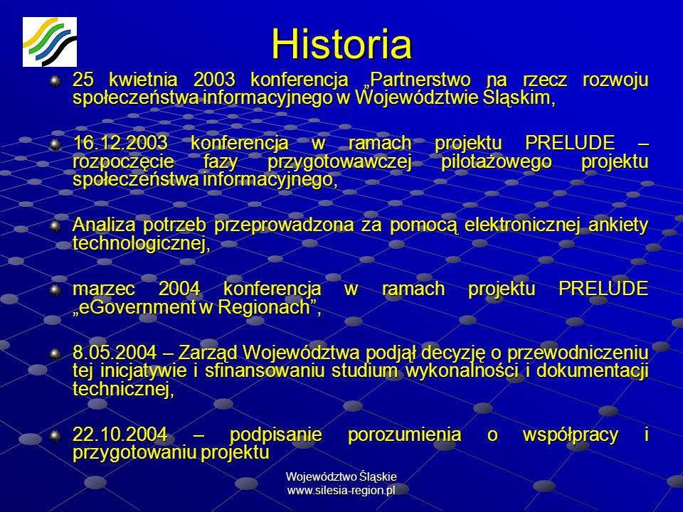 Województwo Śląskie www.silesia-region.plHistoria 25 kwietnia 2003 konferencja Partnerstwo na rzecz rozwoju społeczeństwa informacyjnego w Województwi