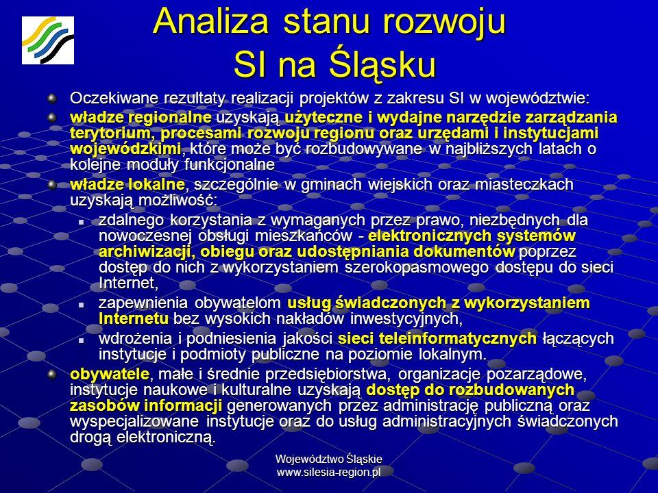 Województwo Śląskie www.silesia-region.pl Analiza stanu rozwoju SI na Śląsku Oczekiwane rezultaty realizacji projektów z zakresu SI w województwie: wł