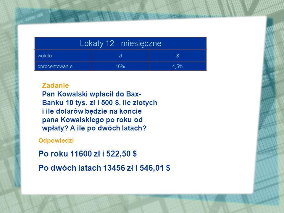 Oprocentowanie oszczędności i kredytów »Kredyt – kwota, którą pożyczamy z banku »Kapitał – kwota wpłacana do banku »Odsetki (dochód) – kwota, którą zy