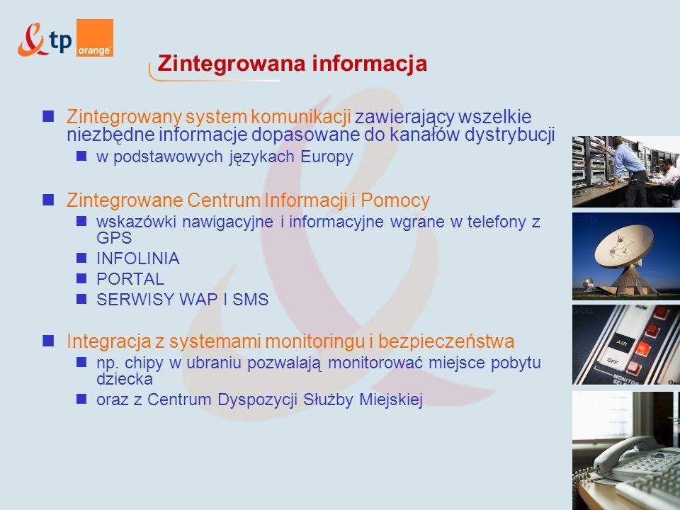 Zintegrowana informacja Zintegrowany system komunikacji zawierający wszelkie niezbędne informacje dopasowane do kanałów dystrybucji w podstawowych językach Europy Zintegrowane Centrum Informacji i Pomocy wskazówki nawigacyjne i informacyjne wgrane w telefony z GPS INFOLINIA PORTAL SERWISY WAP I SMS Integracja z systemami monitoringu i bezpieczeństwa np.