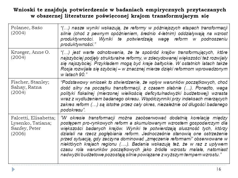 Wnioski te znajdują potwierdzenie w badaniach empirycznych przytaczanych w obszernej literaturze poświęconej krajom transformującym się Polanec, Saŝo