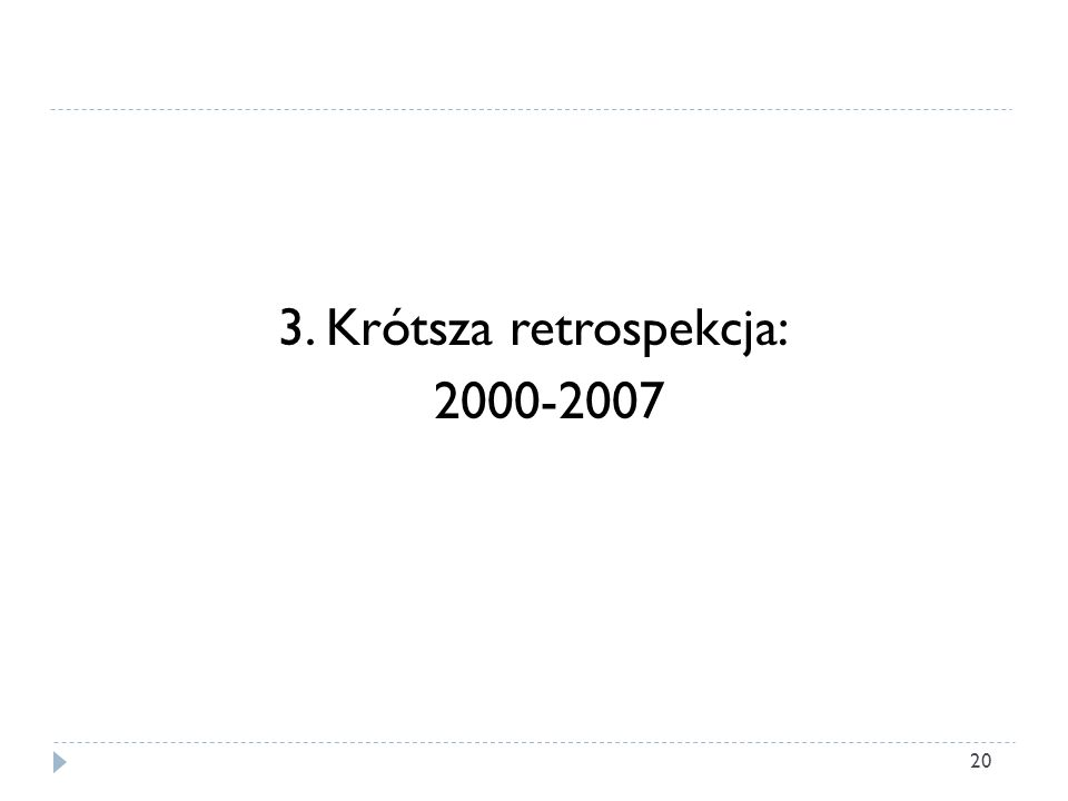 3. Krótsza retrospekcja: 2000-2007 20