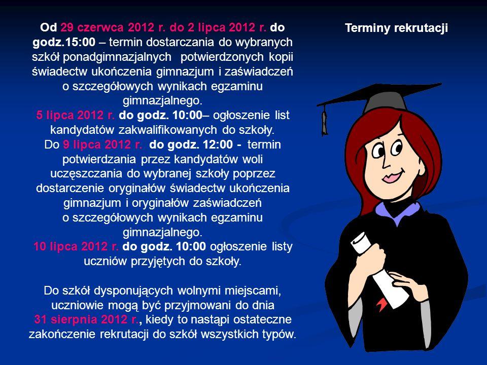 Od 29 czerwca 2012 r. do 2 lipca 2012 r. do godz.15:00 – termin dostarczania do wybranych szkół ponadgimnazjalnych potwierdzonych kopii świadectw ukoń