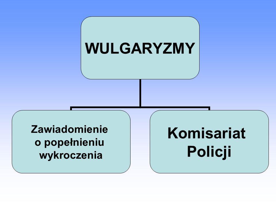 WULGARYZMY Zawiadomienie o popełnieniu wykroczenia Komisariat Policji