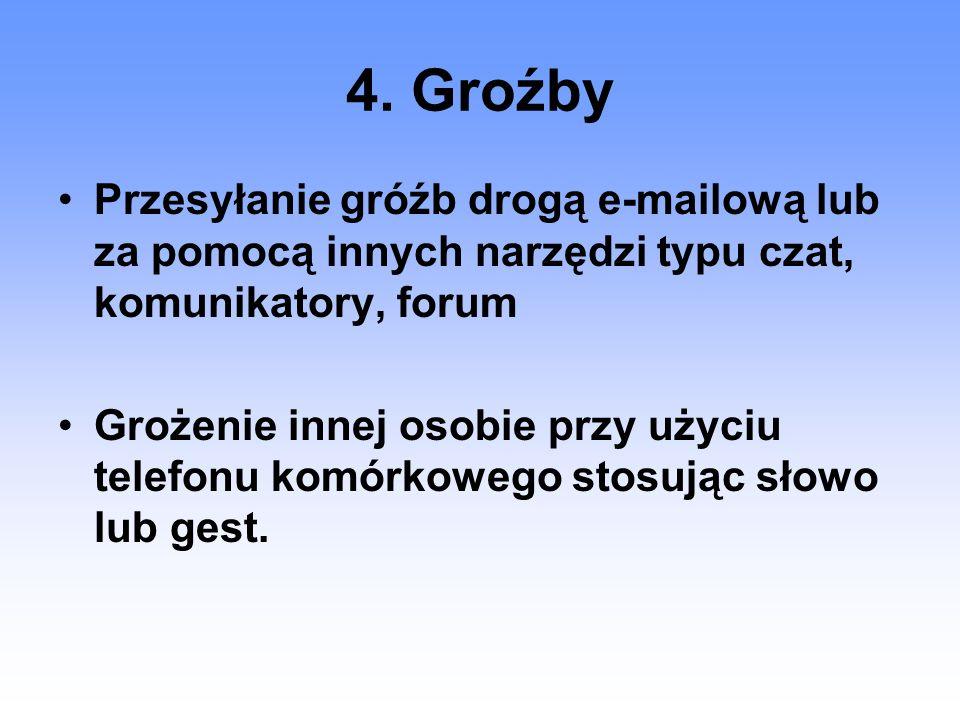4. Groźby Przesyłanie gróźb drogą e-mailową lub za pomocą innych narzędzi typu czat, komunikatory, forum Grożenie innej osobie przy użyciu telefonu ko