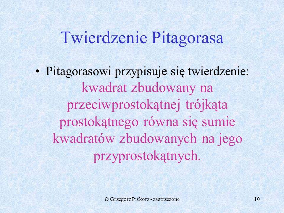 © Grzegorz Piskorz - zastrzeżone9 Twierdzenie Pitagorasa b a c