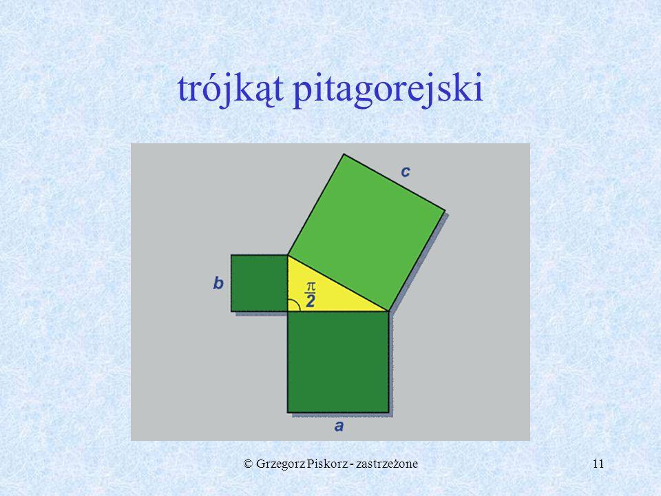 10 Twierdzenie Pitagorasa Pitagorasowi przypisuje się twierdzenie: kwadrat zbudowany na przeciwprostokątnej trójkąta prostokątnego równa się sumie kwa