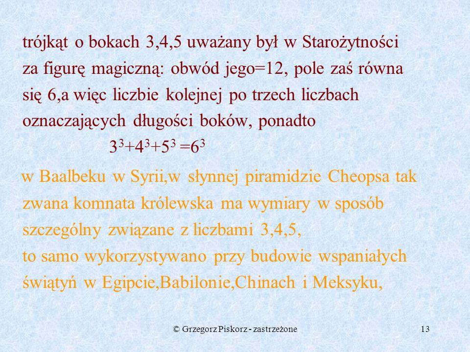 © Grzegorz Piskorz - zastrzeżone12 pole żółtego kwadratu jest równe sumie pól kwadratów niebieskiego i zielonego. Z czterech jednakowych trójkątów i d