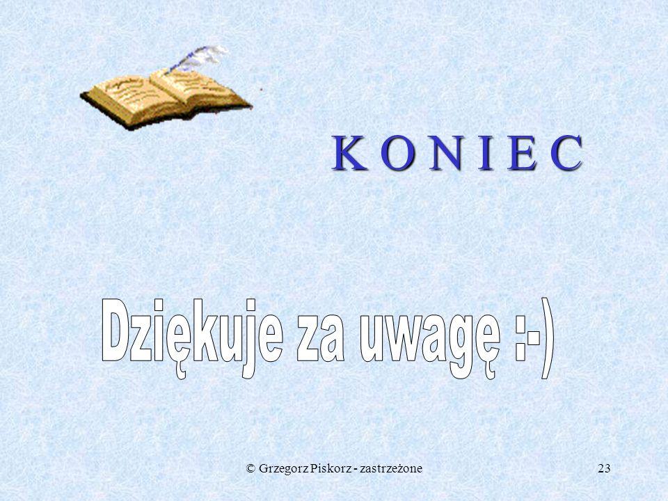 © Grzegorz Piskorz - zastrzeżone22 Zadanie 4 Oblicz długość przekątnej prostokąta o wymiarach: a) 4 cm i 6 cm b) 8 cm i 3 cm c) 2 cm i 5 cm