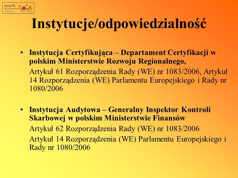 Instytucje/odpowiedzialność Instytucja Certyfikująca – Departament Certyfikacji w polskim Ministerstwie Rozwoju Regionalnego, Artykuł 61 Rozporządzeni