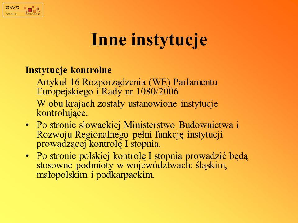 Inne instytucje Instytucje kontrolne Artykuł 16 Rozporządzenia (WE) Parlamentu Europejskiego i Rady nr 1080/2006 W obu krajach zostały ustanowione ins