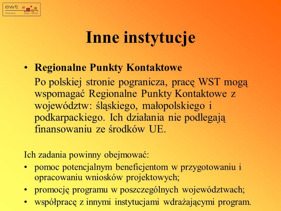 Inne instytucje Regionalne Punkty Kontaktowe Po polskiej stronie pogranicza, pracę WST mogą wspomagać Regionalne Punkty Kontaktowe z województw: śląsk