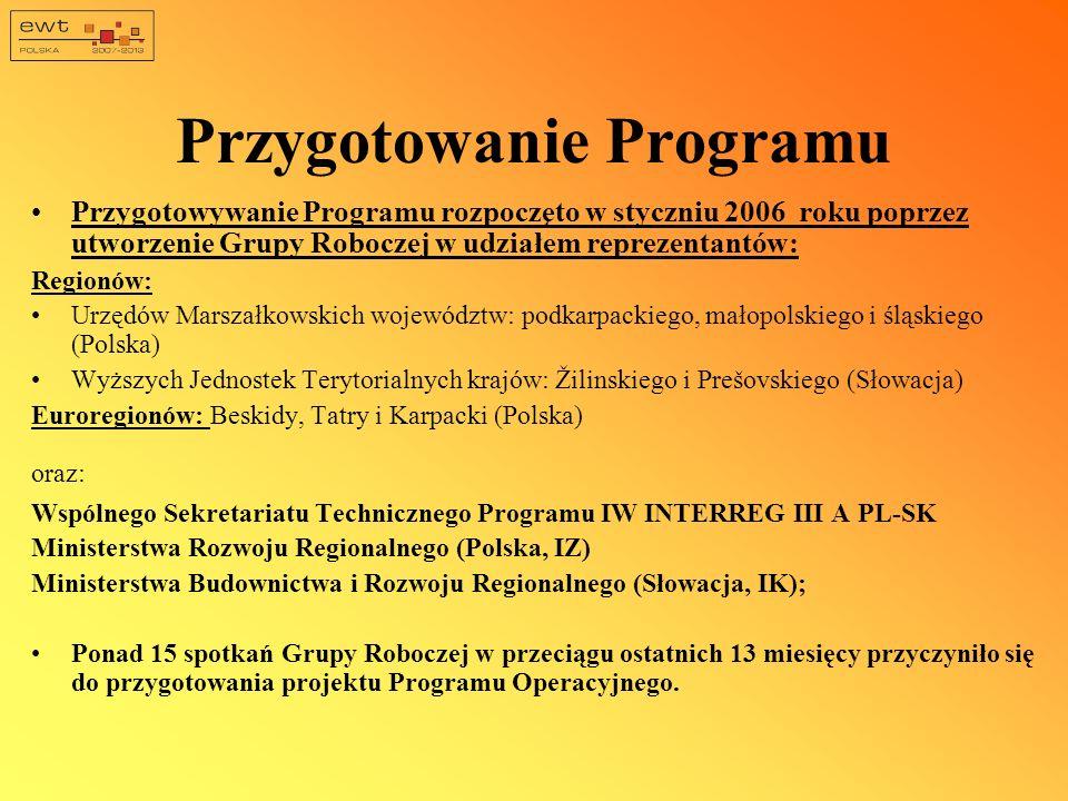 Przygotowanie Programu Przygotowywanie Programu rozpoczęto w styczniu 2006 roku poprzez utworzenie Grupy Roboczej w udziałem reprezentantów: Regionów: