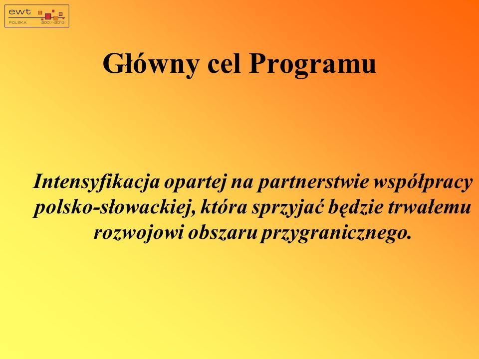 Główny cel Programu Intensyfikacja opartej na partnerstwie współpracy polsko-słowackiej, która sprzyjać będzie trwałemu rozwojowi obszaru przygraniczn