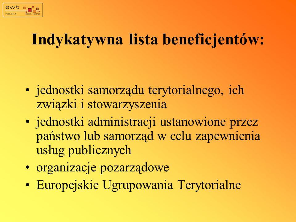 Indykatywna lista beneficjentów: jednostki samorządu terytorialnego, ich związki i stowarzyszenia jednostki administracji ustanowione przez państwo lu